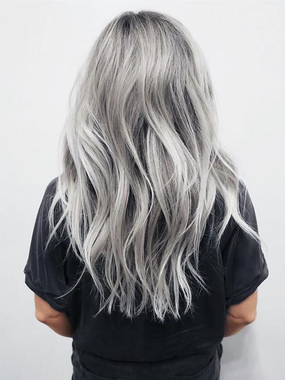 Trendy Long Silver Hair Color Hairstyles 2017 - 2018 Fall/Winter