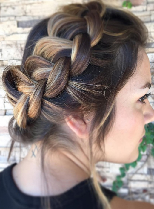 double french braid short hairs