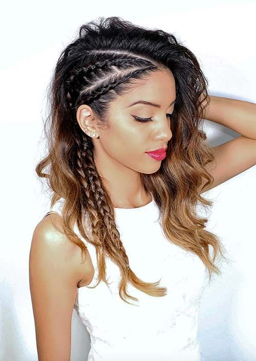 Flat braid hairstyle bouncy ponytail